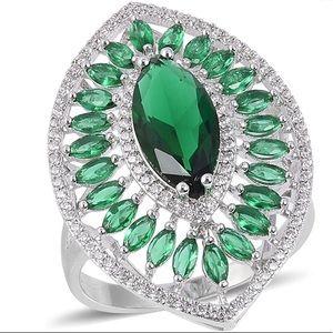 Simulated Emerald, Simulated Diamond Ring1.00 ctw